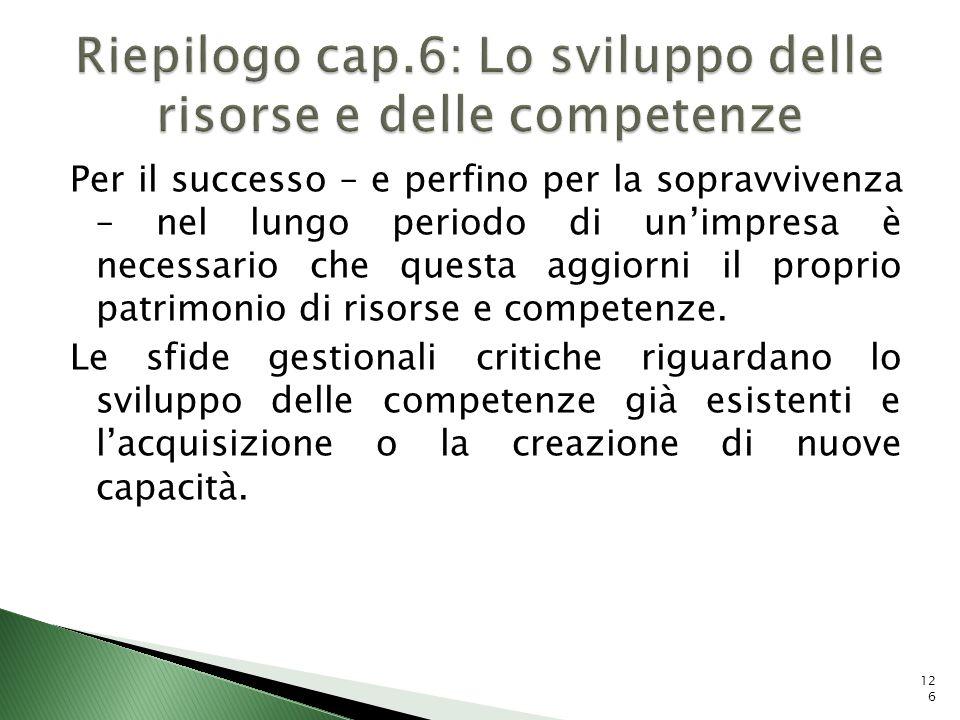 Riepilogo cap.6: Lo sviluppo delle risorse e delle competenze