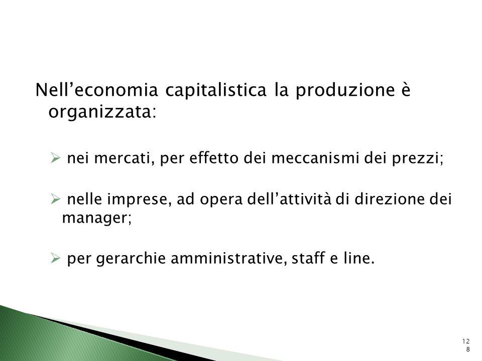 Nell'economia capitalistica la produzione è organizzata: