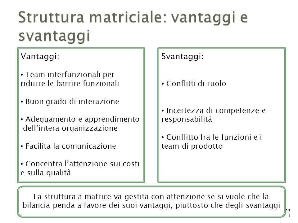 Struttura matriciale: vantaggi e svantaggi