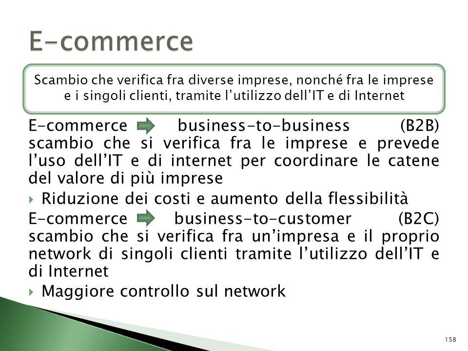 E-commerce Scambio che verifica fra diverse imprese, nonché fra le imprese e i singoli clienti, tramite l'utilizzo dell'IT e di Internet.