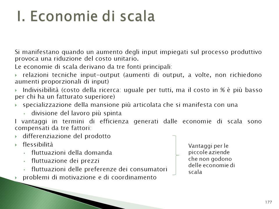 I. Economie di scala Si manifestano quando un aumento degli input impiegati sul processo produttivo provoca una riduzione del costo unitario.