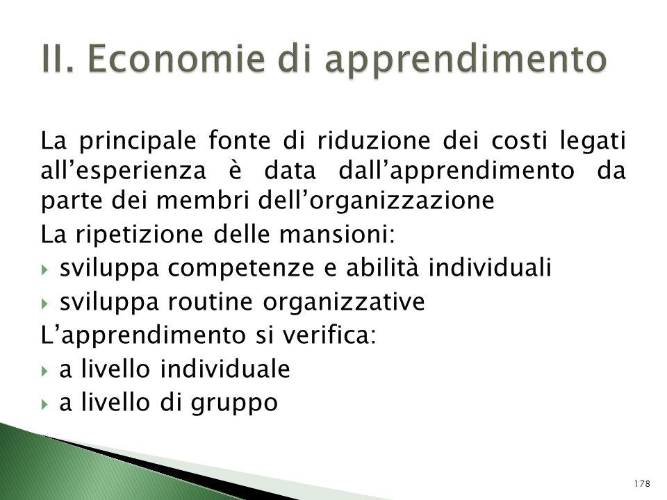 II. Economie di apprendimento