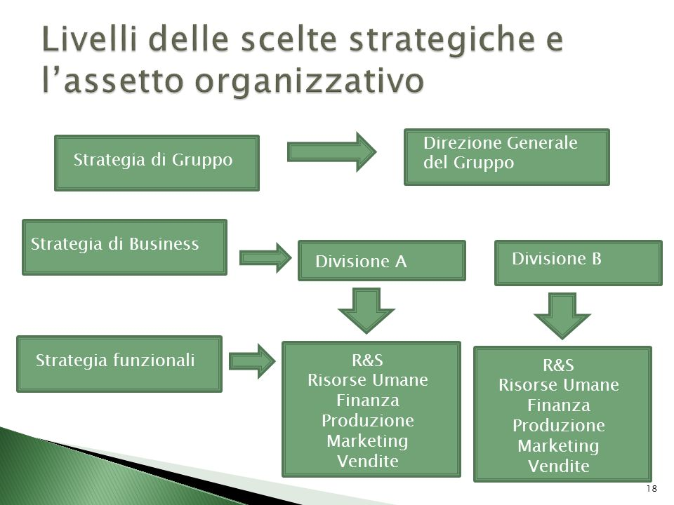 Livelli delle scelte strategiche e l'assetto organizzativo
