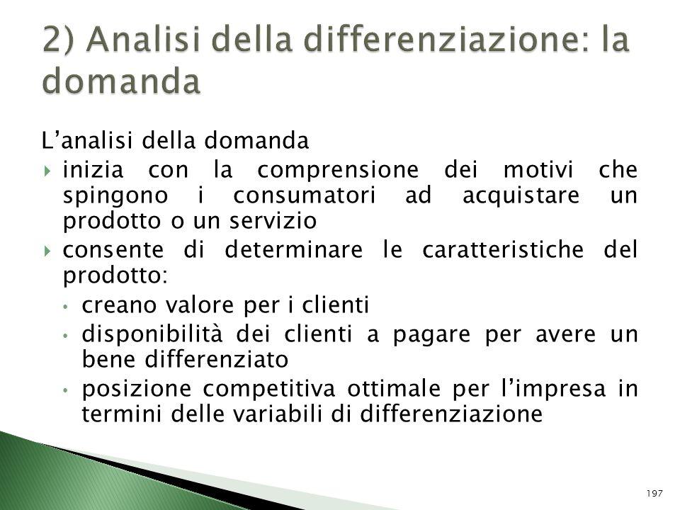 2) Analisi della differenziazione: la domanda