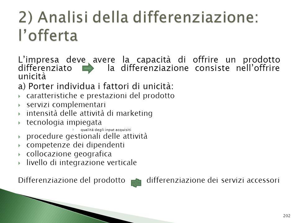 2) Analisi della differenziazione: l'offerta