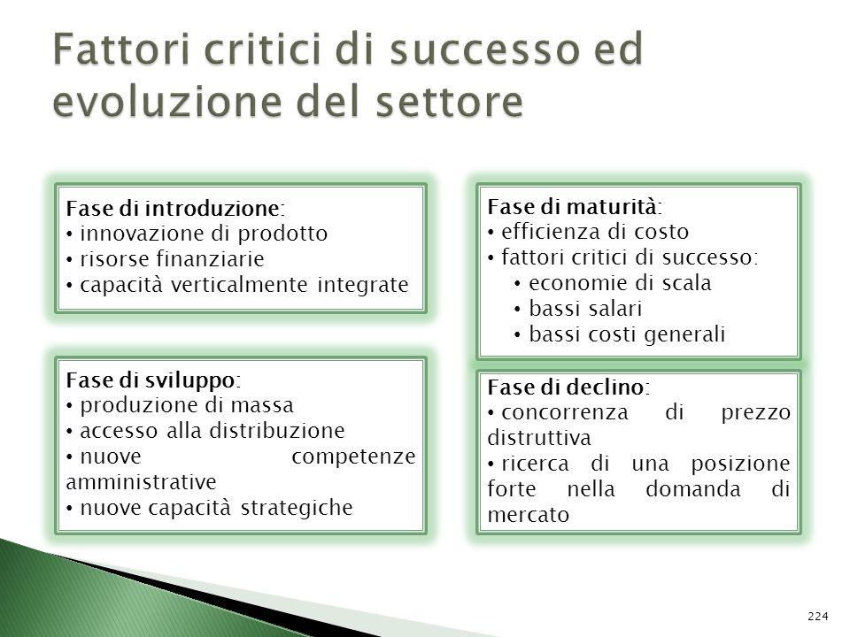 Fattori critici di successo ed evoluzione del settore