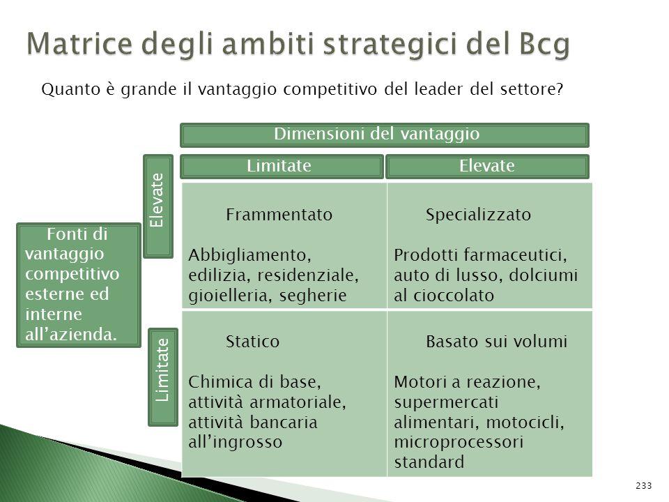 Matrice degli ambiti strategici del Bcg