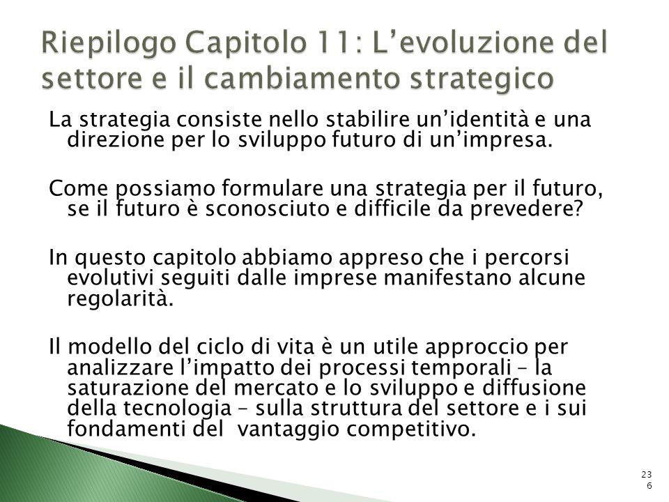 Riepilogo Capitolo 11: L'evoluzione del settore e il cambiamento strategico