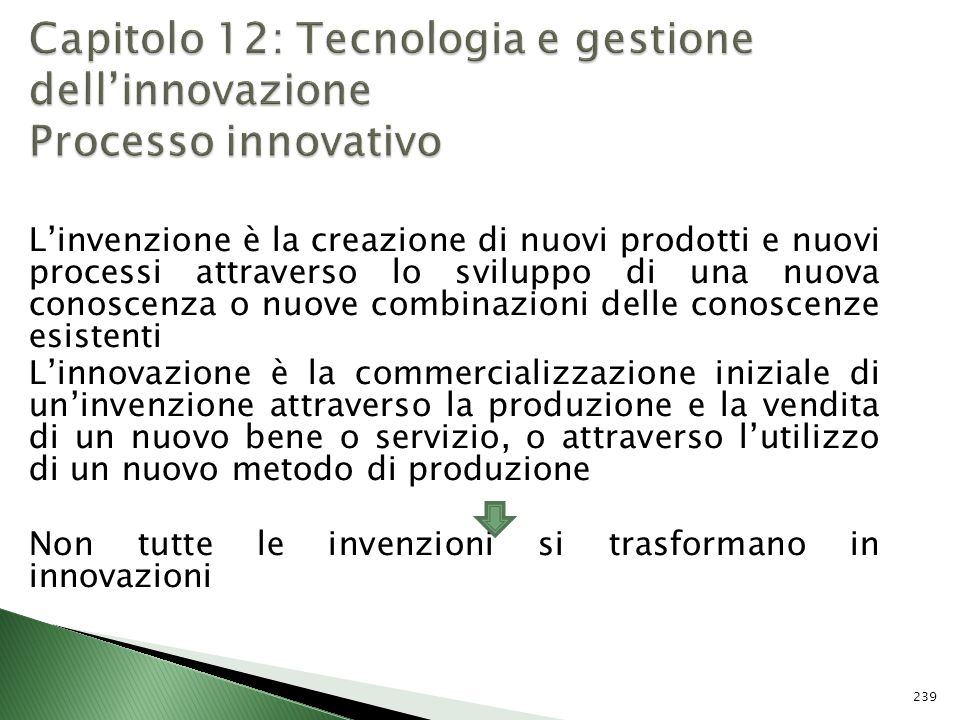 Capitolo 12: Tecnologia e gestione dell'innovazione Processo innovativo