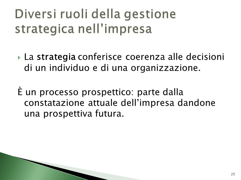 Diversi ruoli della gestione strategica nell'impresa