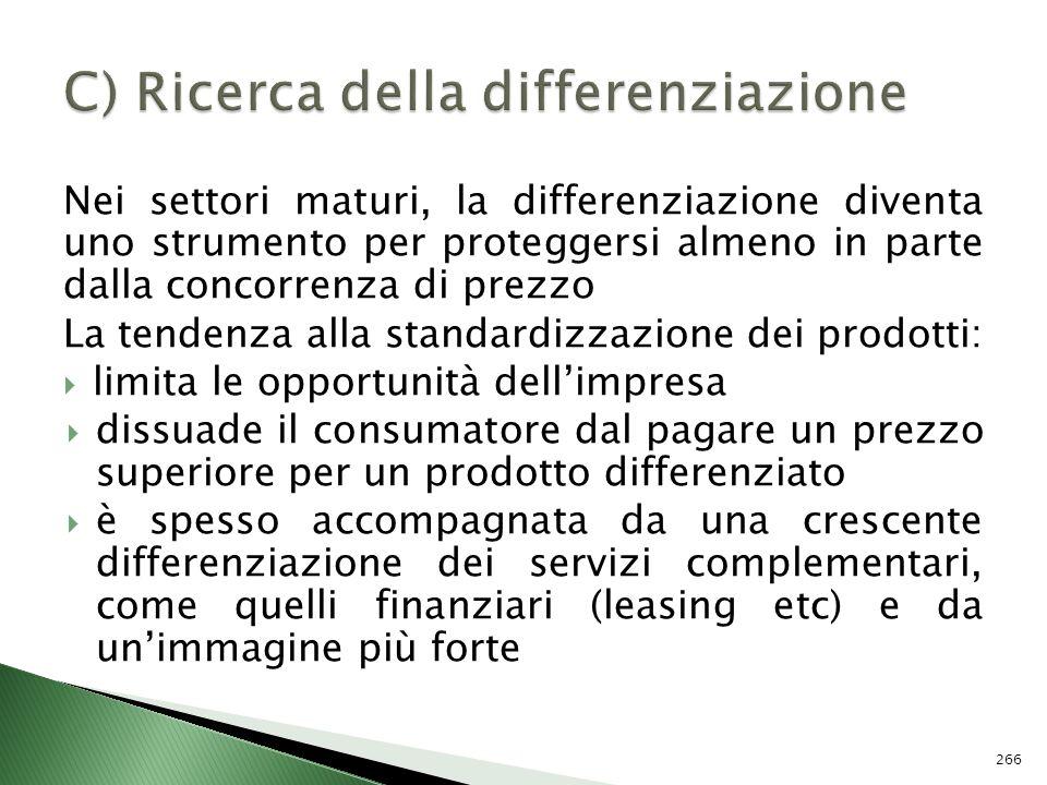 C) Ricerca della differenziazione