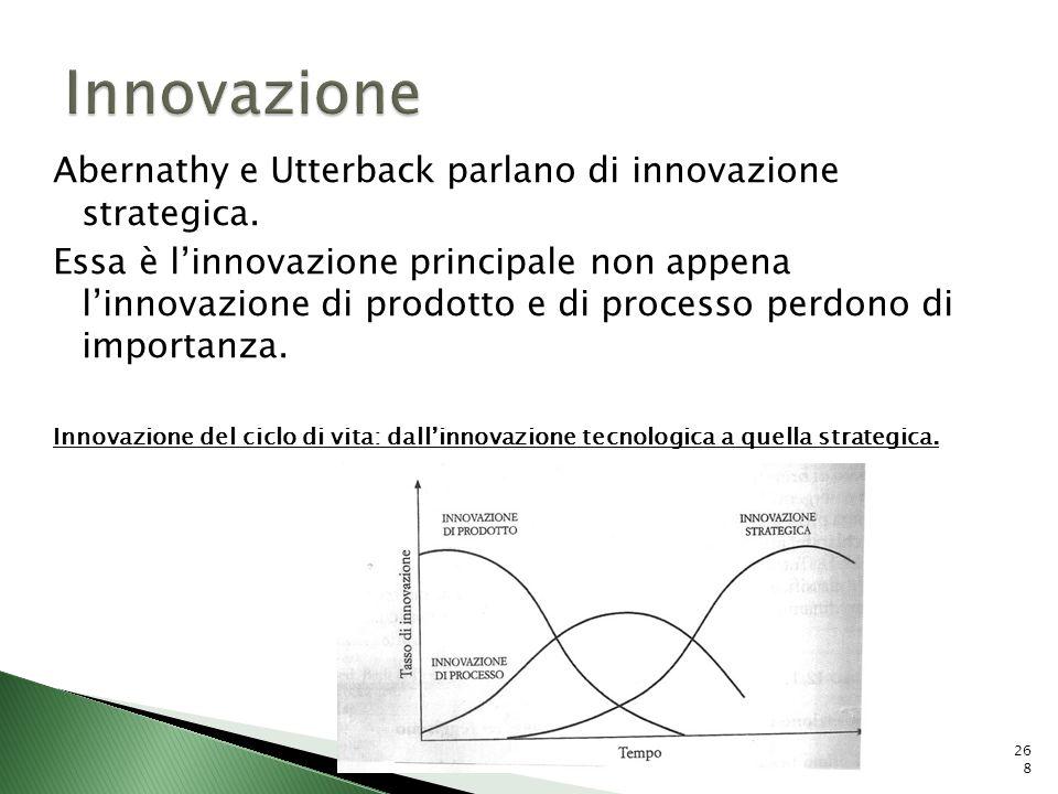 Innovazione Abernathy e Utterback parlano di innovazione strategica.