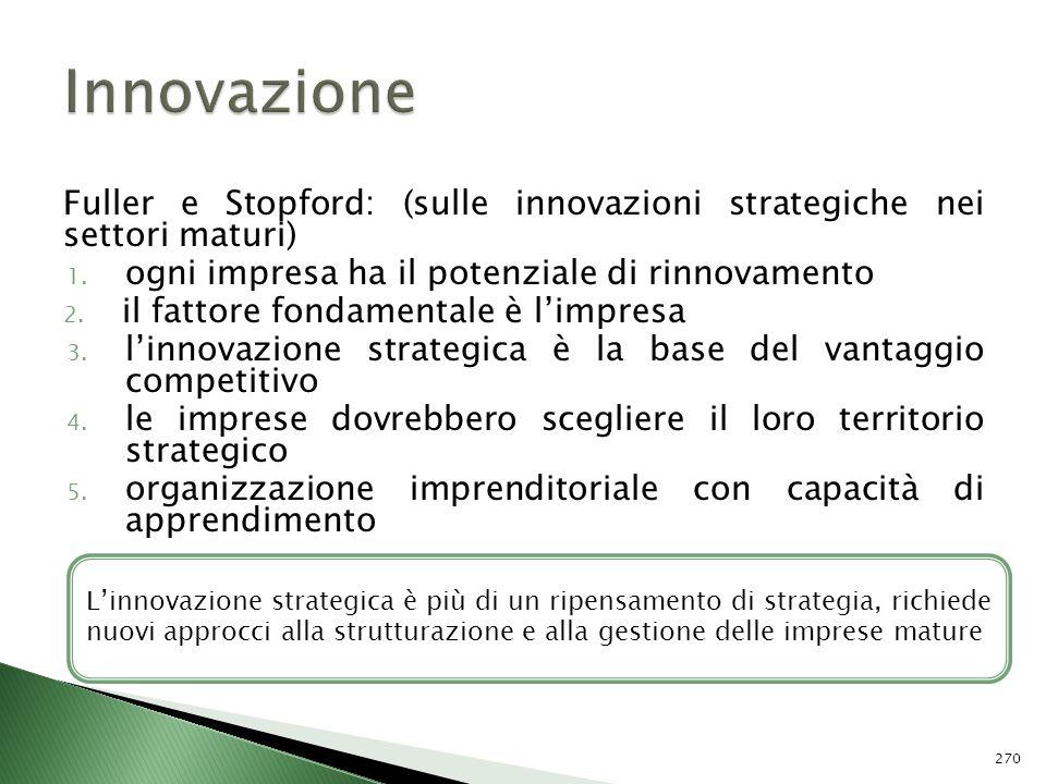 Innovazione Fuller e Stopford: (sulle innovazioni strategiche nei settori maturi) ogni impresa ha il potenziale di rinnovamento.