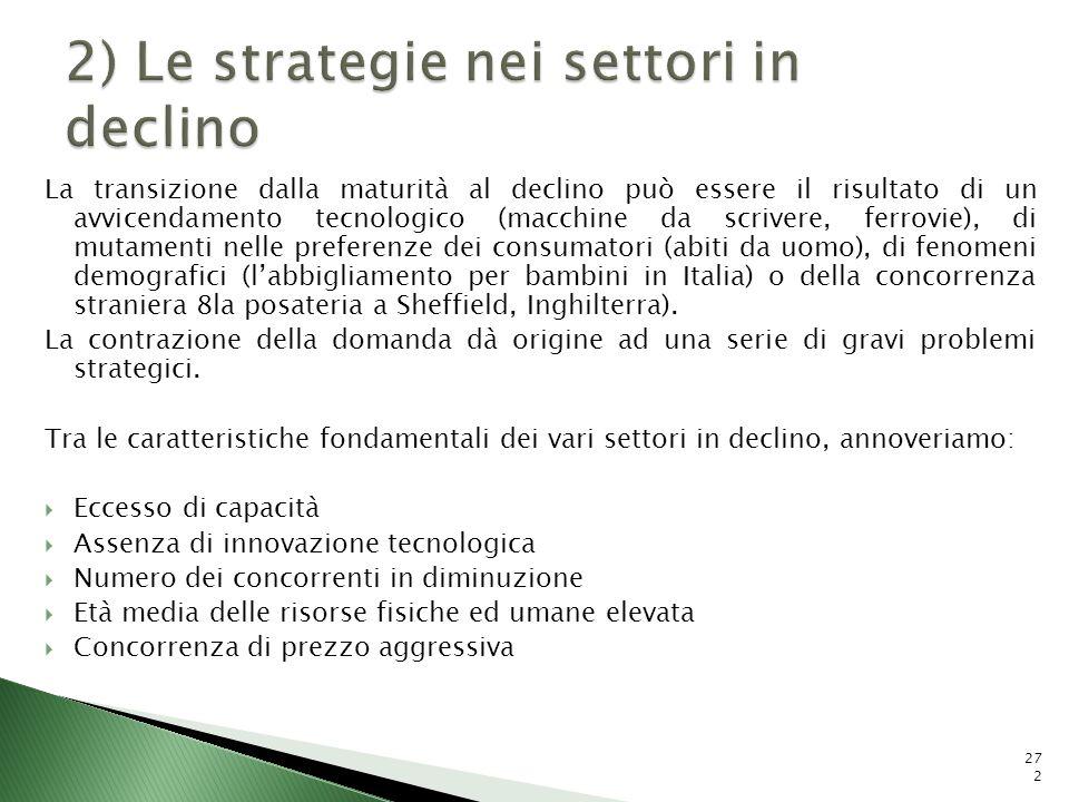 2) Le strategie nei settori in declino