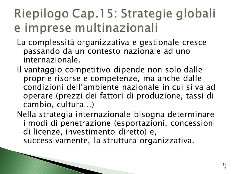 Riepilogo Cap.15: Strategie globali e imprese multinazionali