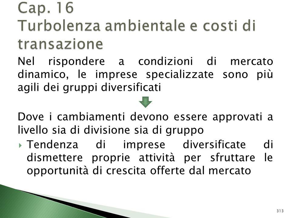 Cap. 16 Turbolenza ambientale e costi di transazione