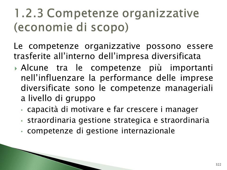 1.2.3 Competenze organizzative (economie di scopo)