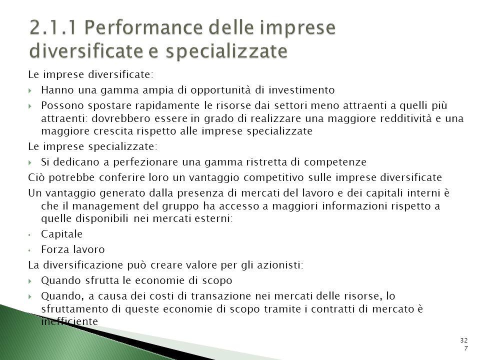 2.1.1 Performance delle imprese diversificate e specializzate