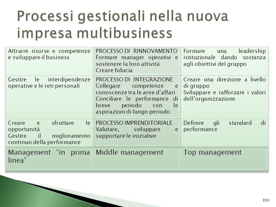 Processi gestionali nella nuova impresa multibusiness
