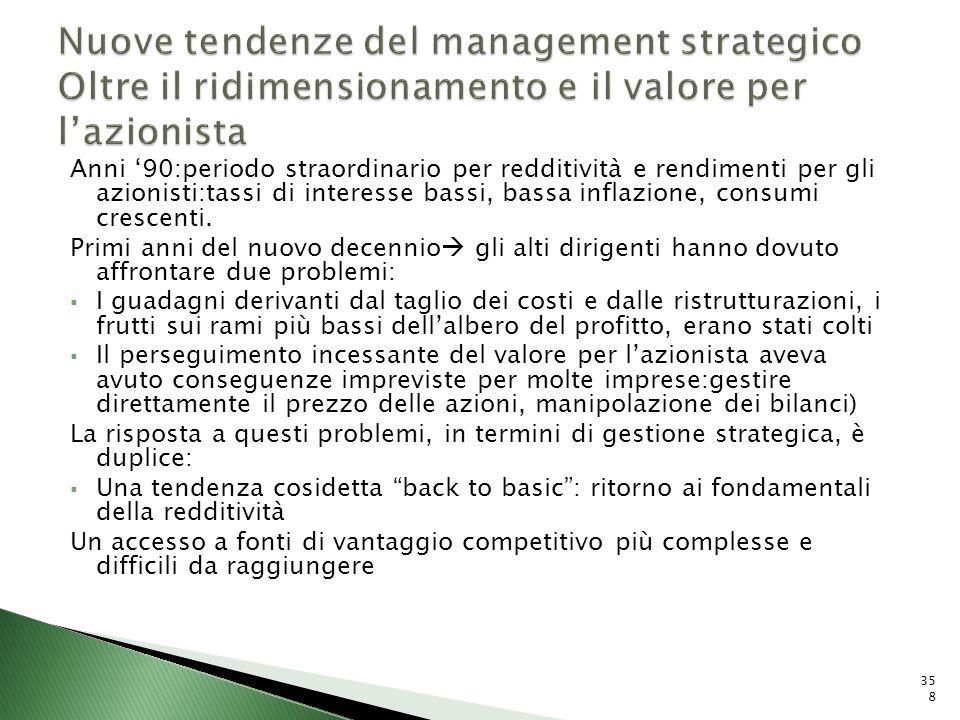 Nuove tendenze del management strategico Oltre il ridimensionamento e il valore per l'azionista