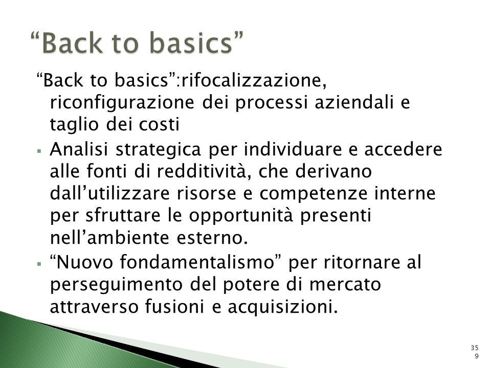 Back to basics Back to basics :rifocalizzazione, riconfigurazione dei processi aziendali e taglio dei costi.