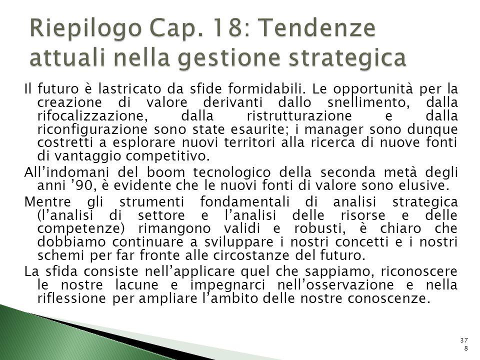 Riepilogo Cap. 18: Tendenze attuali nella gestione strategica