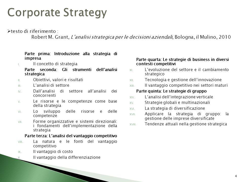 Corporate Strategy testo di riferimento :