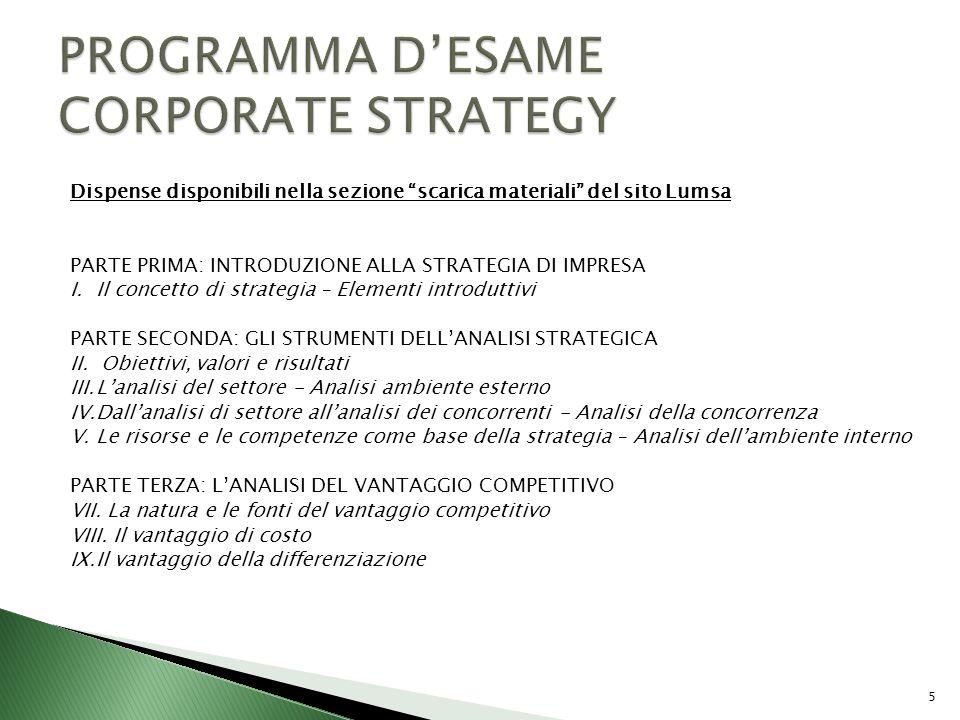 PROGRAMMA D'ESAME CORPORATE STRATEGY