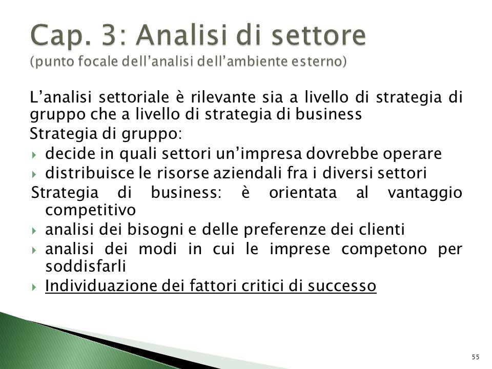 Cap. 3: Analisi di settore (punto focale dell'analisi dell'ambiente esterno)