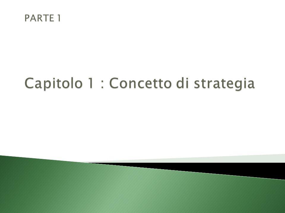 PARTE 1 Capitolo 1 : Concetto di strategia