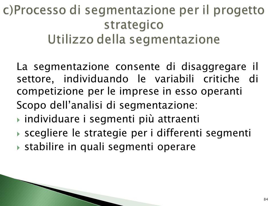 c)Processo di segmentazione per il progetto strategico Utilizzo della segmentazione