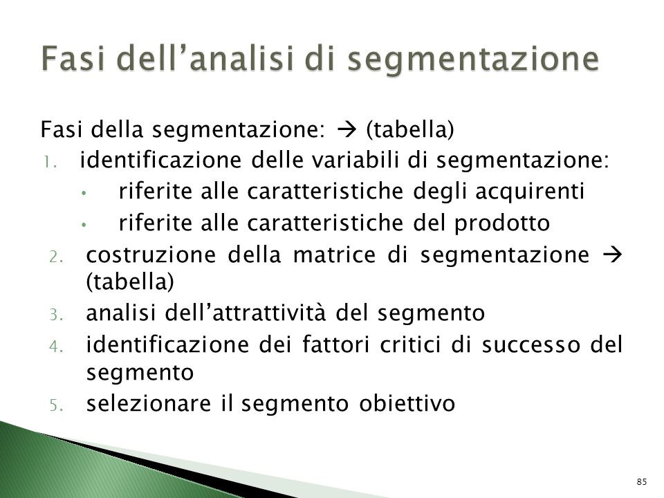 Fasi dell'analisi di segmentazione