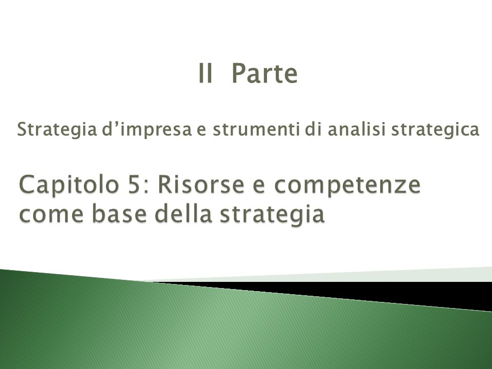Capitolo 5: Risorse e competenze come base della strategia