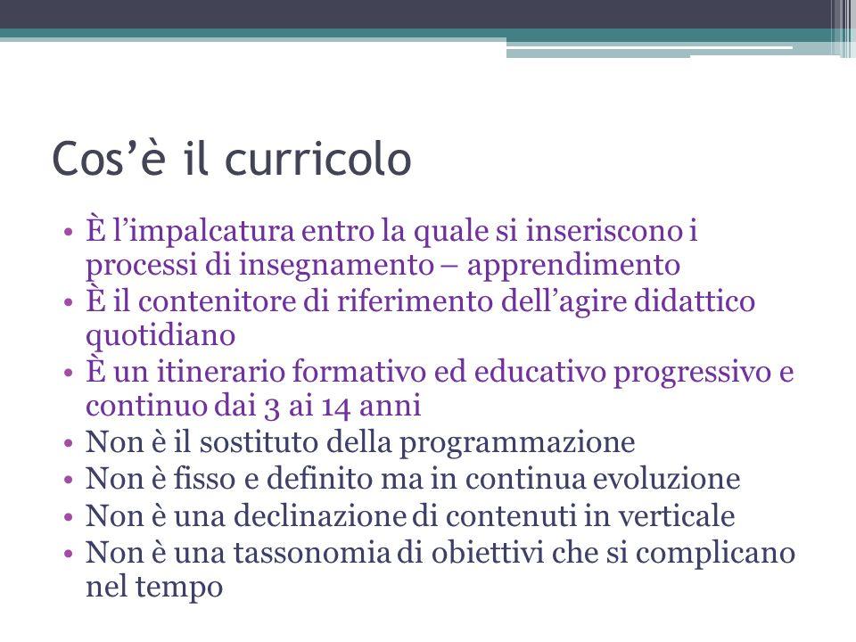 Cos'è il curricolo È l'impalcatura entro la quale si inseriscono i processi di insegnamento – apprendimento.