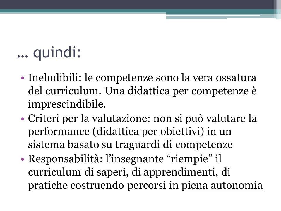 … quindi: Ineludibili: le competenze sono la vera ossatura del curriculum. Una didattica per competenze è imprescindibile.