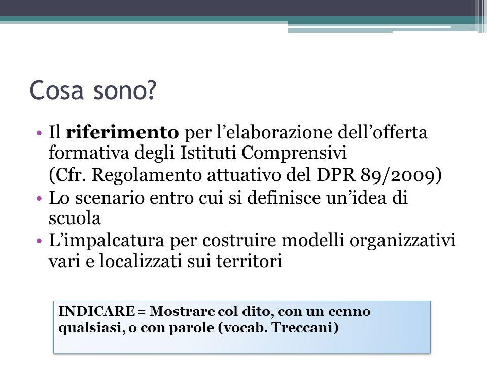 Cosa sono Il riferimento per l'elaborazione dell'offerta formativa degli Istituti Comprensivi. (Cfr. Regolamento attuativo del DPR 89/2009)