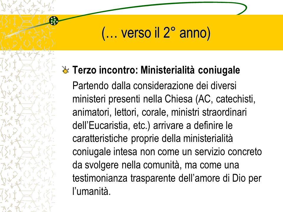 (… verso il 2° anno) Terzo incontro: Ministerialità coniugale