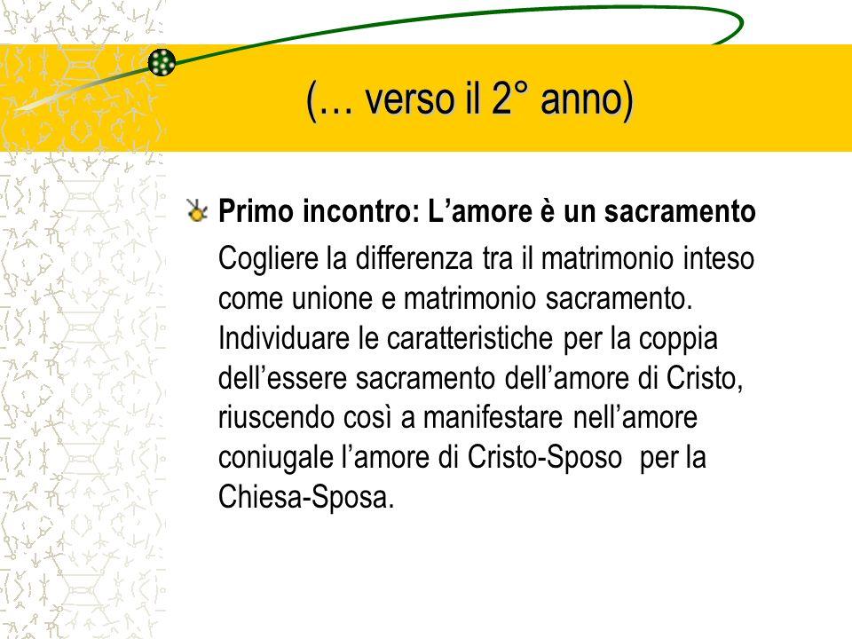(… verso il 2° anno) Primo incontro: L'amore è un sacramento