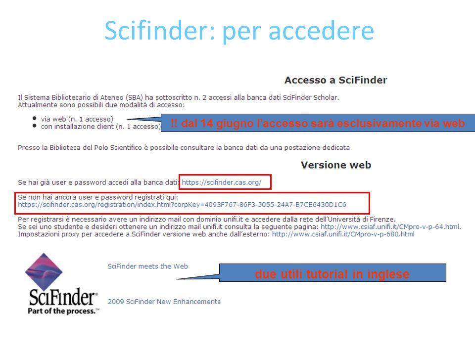 Scifinder: per accedere