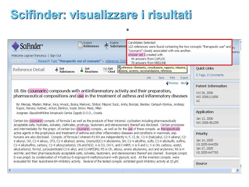 Scifinder: visualizzare i risultati