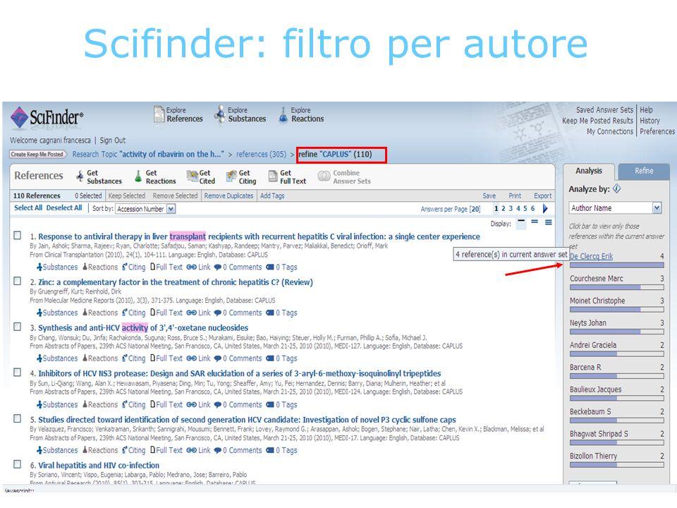 Scifinder: filtro per autore