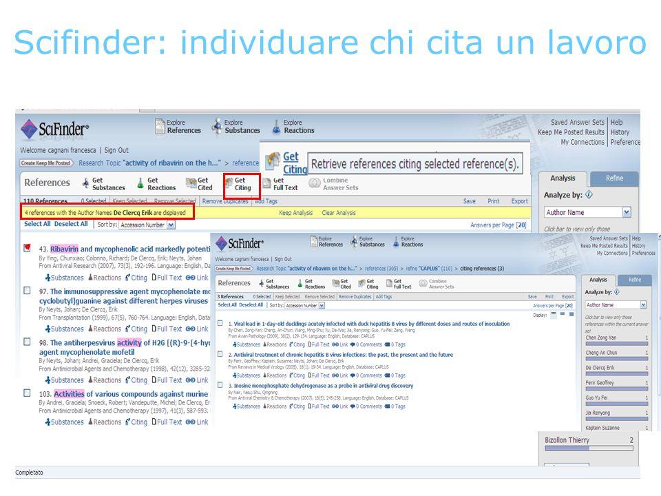 Scifinder: individuare chi cita un lavoro