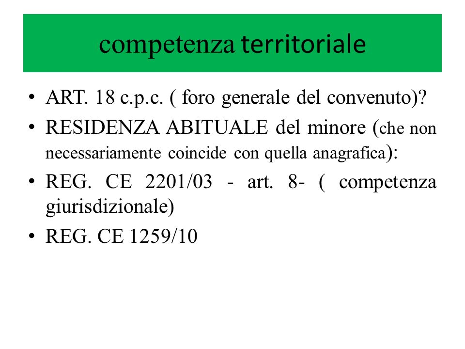 competenza territoriale