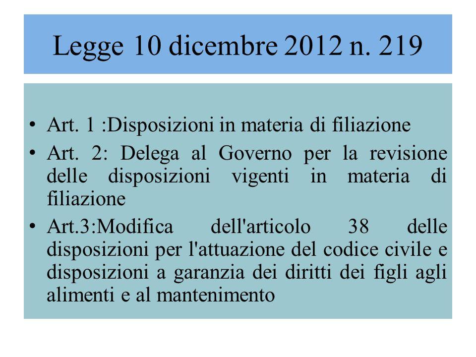 Legge 10 dicembre 2012 n. 219 Art. 1 :Disposizioni in materia di filiazione.