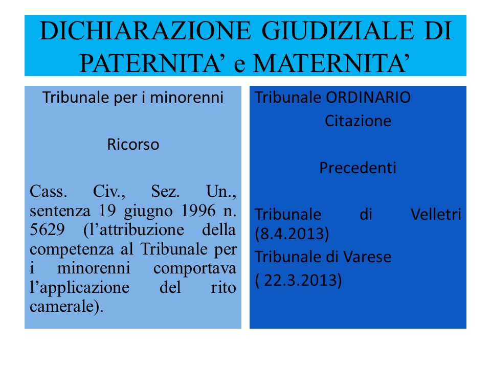 DICHIARAZIONE GIUDIZIALE DI PATERNITA' e MATERNITA'