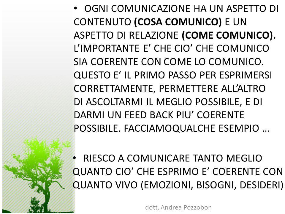 OGNI COMUNICAZIONE HA UN ASPETTO DI CONTENUTO (COSA COMUNICO) E UN