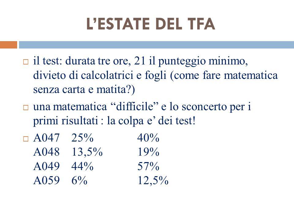 L'ESTATE DEL TFA il test: durata tre ore, 21 il punteggio minimo, divieto di calcolatrici e fogli (come fare matematica senza carta e matita )