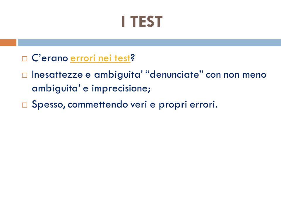 I TEST C'erano errori nei test