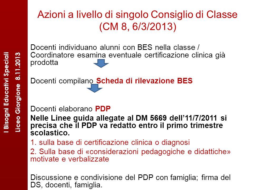 Azioni a livello di singolo Consiglio di Classe (CM 8, 6/3/2013)