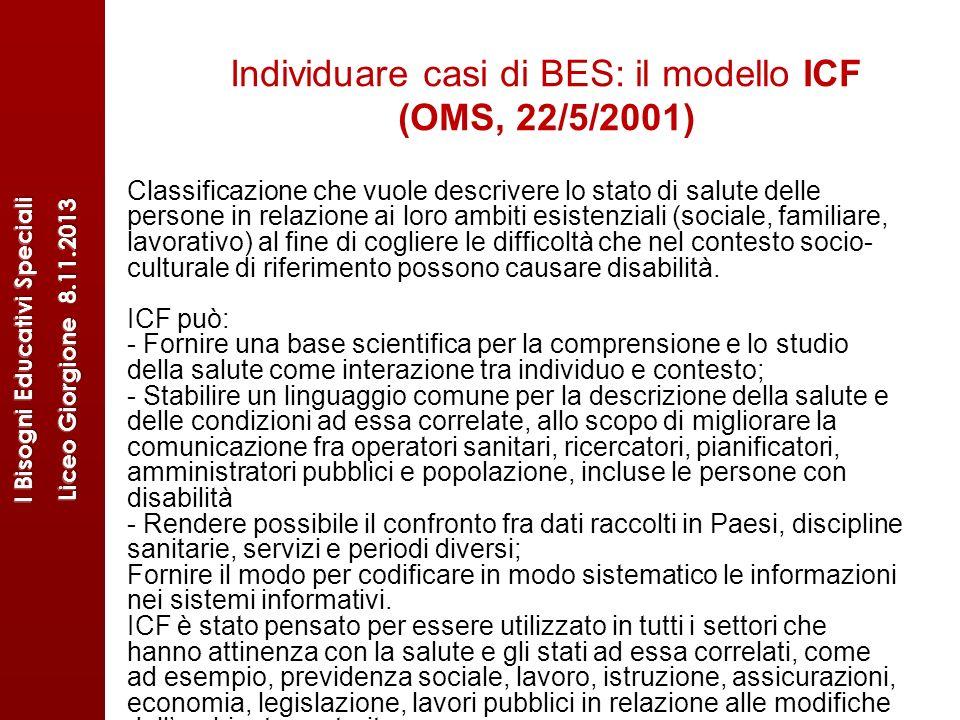 Individuare casi di BES: il modello ICF (OMS, 22/5/2001)